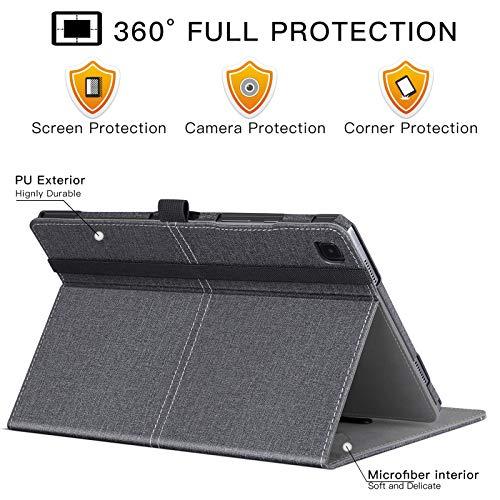 ZtotopCase Funda para Samsung Galaxy Tab A7 10.4 2020, Funda de Cuero Premium con Función Automática de Reposo/Activación, Ranura para Tarjeta de Archivo para Samsung Tab A7, Denim Negro