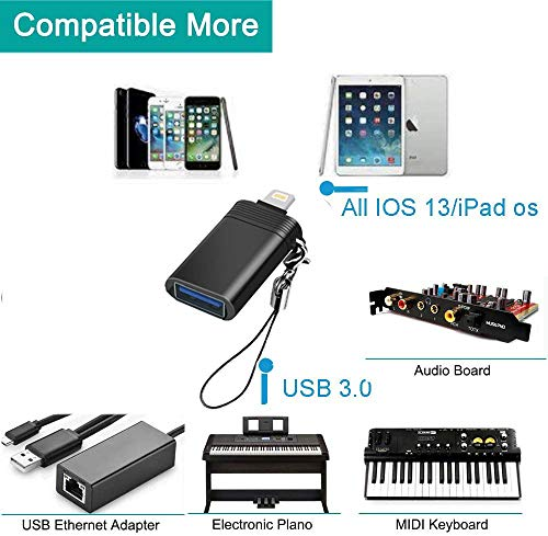 Adaptador de cámara USB, adaptador OTG hembra, compatible con iPhone 11, X, XS, 8 y 7, lector de tarjetas de soporte, teclado, micrófono, adaptador USB Ethernet, ratón