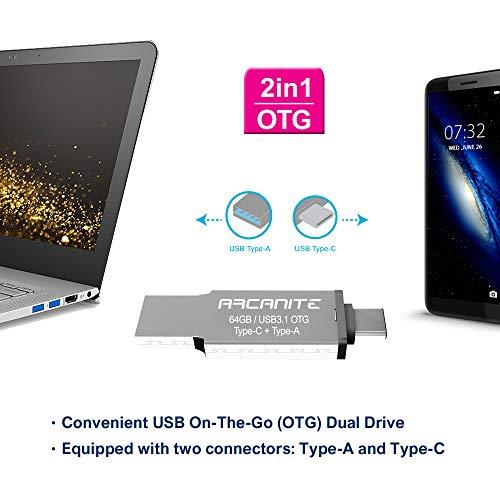 ARCANITE - Memoria USB OTG de 64 GB, compatible con puertos USB 3.1 tipo-C y tipo-A, pendrive 2 en 1, velocidad lectura hasta 120MB/s