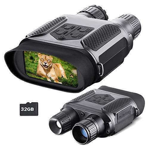 Binoculares visión Nocturna para Adultos, Tarjeta TF 32GB, Zoom infrarrojo Digital 7X HD, visión Nocturna Pantalla panorámica 400M, Adecuado para la Caza Camping navegación Aventura