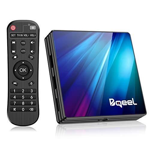 Bqeel Última 10.0 - Android TV Box, 4GB RAM+64GB ROM, RK3318 Quad-Core 64bit Cortex-A53 Soporte 2k*4K, WiFi 2.4G/5G,BT 4.0 , USB 3.0 Smart TV Box
