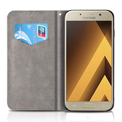 CaseFun Funda Samsung Galaxy A5 2017 Libro Piel PU Case Flip Cover Carcasa Plegable Cartera con Cierre Magnético Naranja