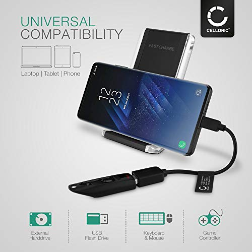 CELLONIC® Cable OTG Compatible con Samsung Galaxy S20, S10, S9, S8 / Note 10, 9, 8 / A71, A70, A51, A50, A41, A40, A30s Adaptador OTG Tipo USB C Cable Host USB OTG PVC Conector OTG Conexion OTG Negro