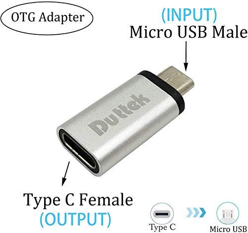 Duttek USB3.1 Tipo C OTG, adaptador Micro USB a USB C ,adaptador USB C hembra a micro USB macho OTG (On the Go) convertidor de sincronización de datos para Galaxy S7, S7 Edge, LG G4 (Silver-OTG)