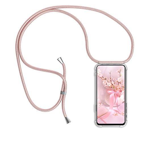Funda Colgante movil con Cuerda para Xiaomi Mi 9 Lite, Carcasa Transparente de TPU con Ajustable Cordón [Anti-Choque] Anti-rasguños Suave Silicona Caso - Oro Rosa