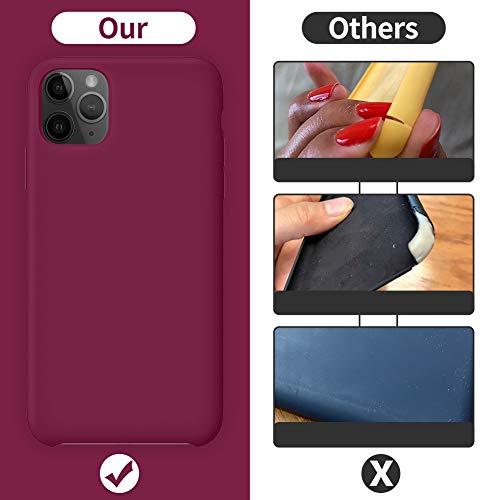 ORNARTO Funda Silicone Case para iPhone 11 Pro MAX, Carcasa de Silicona Líquida Suave Antichoque Bumper para iPhone 11 Pro MAX (2019) 6,5 Pulgadas-Vino Rojo