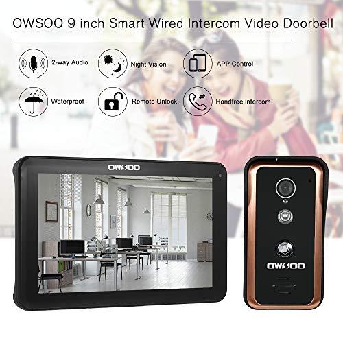 OWSOO 9 Pulgadas Videoportero WIFI Cableado, Cámara 1000TVL Impermeable + Monitor, Soporte Visión Nocturna, Control Remoto de APP, Intercomunicación Visual, Desbloqueo Remoto, Instantánea de Grabación