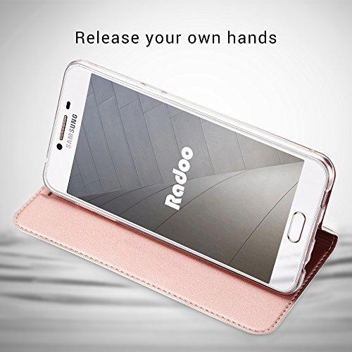 Radoo Funda Galaxy A5 2017, Slim Case de Estilo Billetera Carcasa Libro de Cuero,PU Leather con TPU Silicona Interna Suave [Función Soporte][Cierre Magnético] para Samsung Galaxy A5 2017 (Oro Rosa)