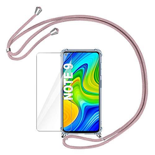 AROYI Funda con Cuerda para Xiaomi Redmi Note 9 + Protector Pantalla, Carcasa Transparente TPU Silicona Case con Colgante Ajustable Collar Correa de Cuello Cordón para Xiaomi Redmi Note 9 (Oro Rosa)