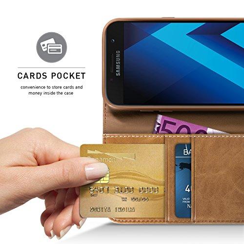 BEZ Funda Samsung A5 2017, Carcasa Compatible para Samsung Galaxy A5 2017, Libro de Cuero con Tapas y Cartera, Cover Protectora con Ranura para Tarjetas y Billetera, Cierre Magnético, Azul