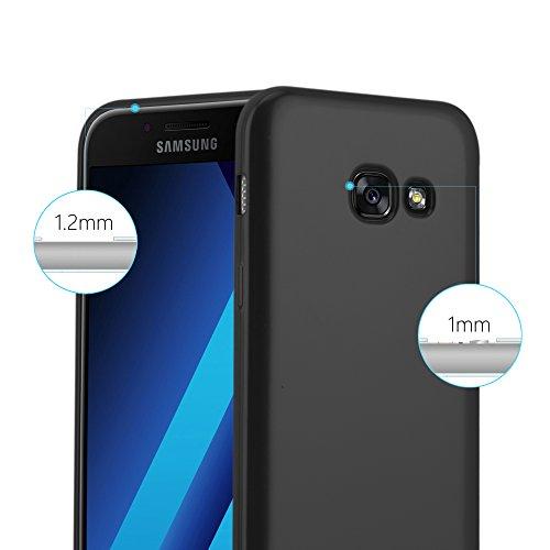 Cadorabo Funda para Samsung Galaxy A5 2017 en Metallic Negro - Cubierta Proteccíon de Silicona TPU Delgada e Flexible con Antichoque - Gel Case Cover Carcasa Ligera