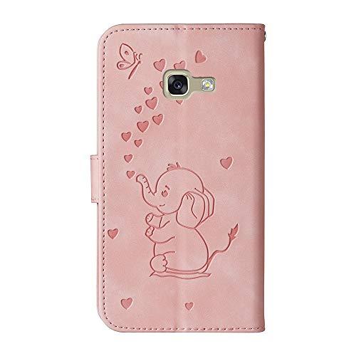 COTDINFORCA Samsung Galaxy A5 2017 Funda Flip, Art Heart-Shaped Elephant Suave PU Cuero Cover para Muchachas Magnet Lock Protective Caso Fundas para Samsung Galaxy A5 2017 Love Elephant Pink.