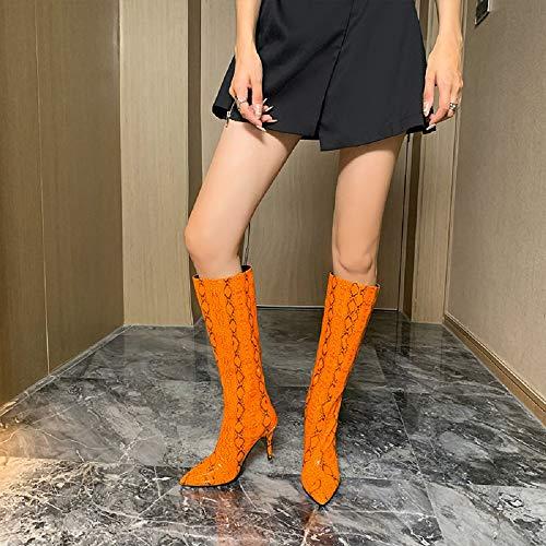 ELEEMEE Mujer Pantorrilla Ancha Botas Moda Rodilla Botas Tacón de Aguja Tacón Pull On Botas Puntiagudo Orange Size 45 Asian