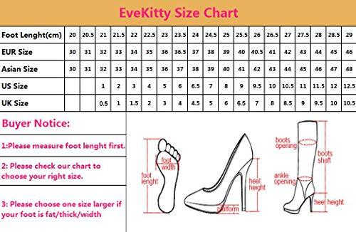 EveKitty Mujer Pantorrilla Ancha Botas Moda Rodilla Botas Tacón de Aguja Tacón Pull On Botas Puntiagudo Orange Size 45 Asian