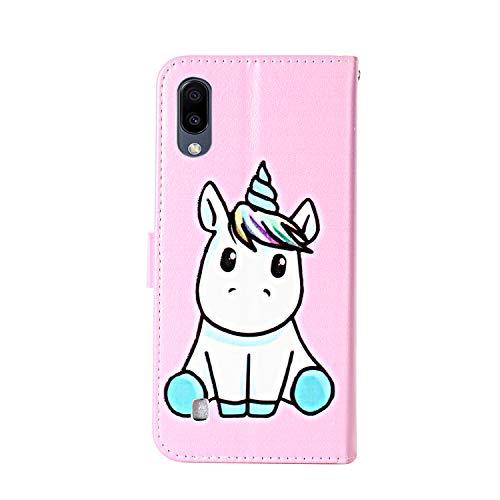Funda Libro para Samsung Galaxy A5 2017 Carcasa de Cuero PU Premium Flip Wallet Case Cover con Tapa Teléfono Piel Tarjetero - Unicornio Rosa