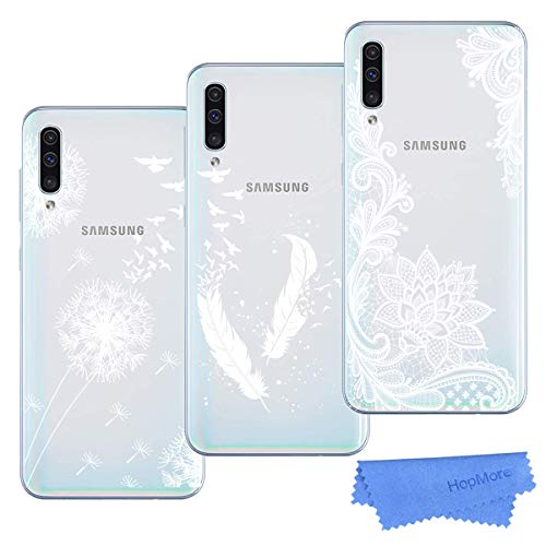 HopMore Compatible con 3X Fundas Samsung Galaxy A70 Silicona Transparente Dibujos Bonita Flor Elegante TPU Fundas Carcasas Ultrafina Resistente Slim Case Antigolpes Caso Cover Protección - Diseño 2