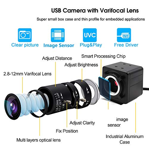 Mermaid 4K 2.8-12mm Manual Varifocal lente USB Webcam Cámara USB IMX317 Videovigilancia Webcamera para Visión Automática, 3840x2160@ 30fps USB con cámara para 3D Scanner VR Cámara