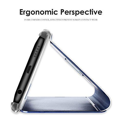 MLOTECH Compatibles Funda para Samsung A5 2017, Cover+ Cristal Templado Flip Clear View Translúcido Espejo Standing Cover Slim Fit Anti-Shock Anti-Rasguño Mirror Cubierta Negro