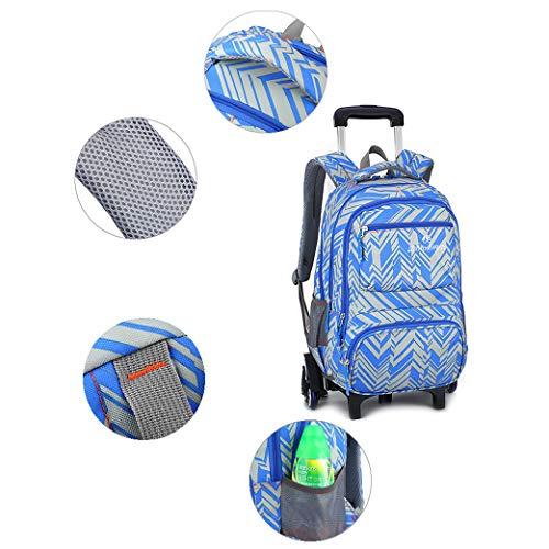 Mochila con ruedas Trolley Bag de 6 ruedas - Patrones geométricos Niños Niñas Adolescentes Trolley Bag Mochila escolar primaria Impermeable Gran capacidad Extraíble para niños Estudiante-orange-2