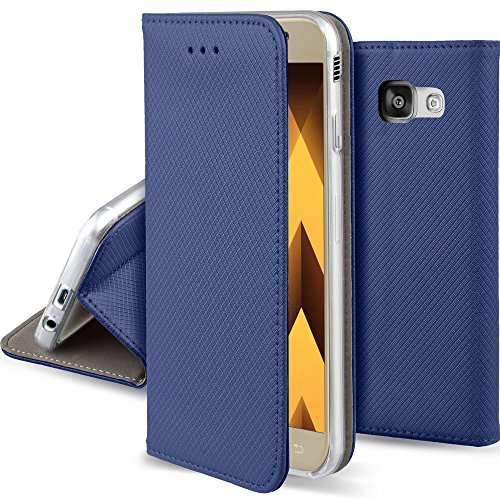 Moozy Funda para Samsung A5 2017, Azul Oscura - Flip Cover Smart Magnética con Stand Plegable y Soporte de Silicona