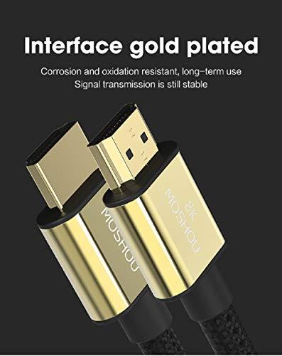MoShou-Cable HDMI 2.1 / UHD HDR 4K 8K 120Hz 2160p 4320p 3D / HDMI 2.0 / eARC Dolby Vision Atmos/Trenzado de Nylon/Ultra Alta Velocidad 48Gbps Ethernet (0.5 m)