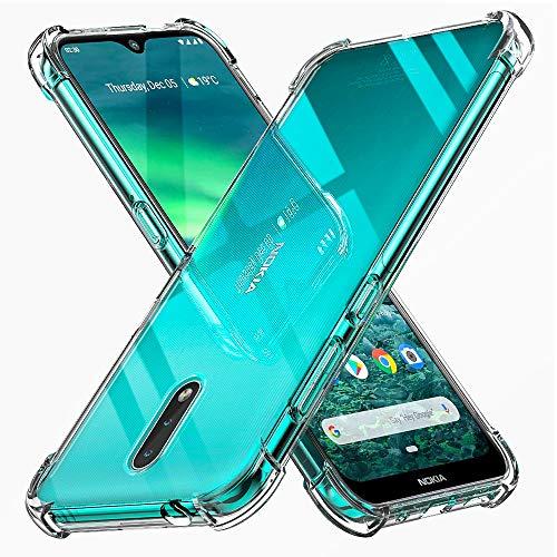 Peakally Funda Nokia 2.3, Transparente Silicona Funda para Nokia 2.3 Carcasa Flexible Claro Ligero TPU Fundas [Antideslizante] [Resistente a arañazos]-Transparente