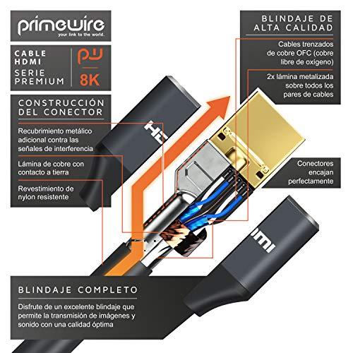 Primewire - Cable HDMI 2.1 de 8k - 1,5m - 8K @ 60Hz 4K @ 120Hz con DSC - 3D - Ethernet de Alta Velocidad - HDTV - UHD II - eARC - Velocidad de Actualización Variable - Dolby Vision - Gaming