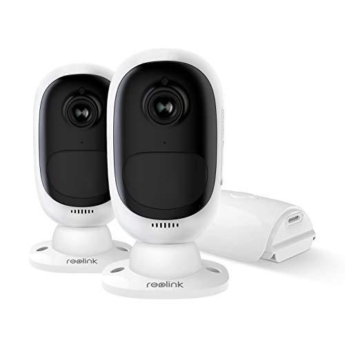 Reolink Argus 2 Cámara Vigilancia IP Exterior WiFi 1080P HD, con Batería Recargable, Audio Bidireccional Visión Nocturna IR Detección de Movimiento PIR, Impermeable Hogar Cámara Seguridad (2 Pack)