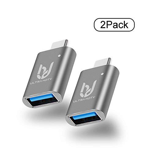 Ultra HDTV 2-Pack USB-C a USB 3.0A Adaptador con OTG, iluminación LED Azul, para su Dispositivo Tipo C como MacBook, Chromebook, Samsung Galaxy S8/9