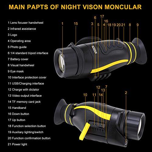 Visión Nocturna Monocular, Visión Nocturna Infrarroja Digital 5x35 Visión Nocturna Monocular con Tarjeta de 32 GB para Observación de Caza