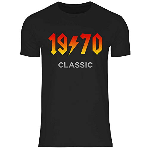 wowshirt Camiseta Regalo para el 50 cumpleaños número 60 20-90 años Nacida de Metales Pesados para Hombre, Tamaño:L, Color:1970 Black