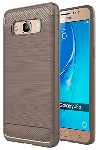 BeCool German Tech® - Funda German Tech para Samsung Galaxy J5 2016, Carcasa TPU Fibra de Carbono (Elite Carbon) - Gris.