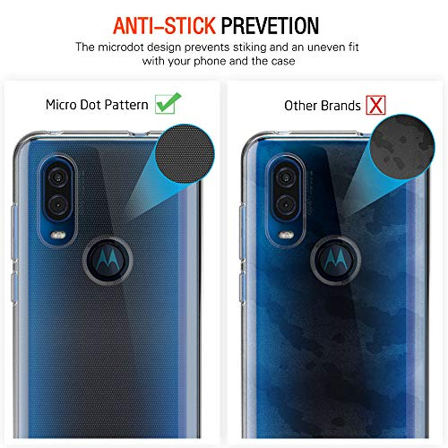 ivoler Funda para Motorola Moto One Vision + 2 Unidades [Cobertura Completa] Cristal Templado, Transparente TPU Silicona Carcasa Caso + Vidrio Templado Protector de Pantalla para Motorola One Vision