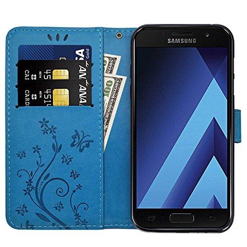 KUAWEI Funda Samsung Galaxy a5 2017 Cover Samsung A5 2017 Funda con Tapa Flip Cover con Soporte Plegable y Stand Función Ranuras para Tarjetas,Billetera,Cierre Magnético (Azul)