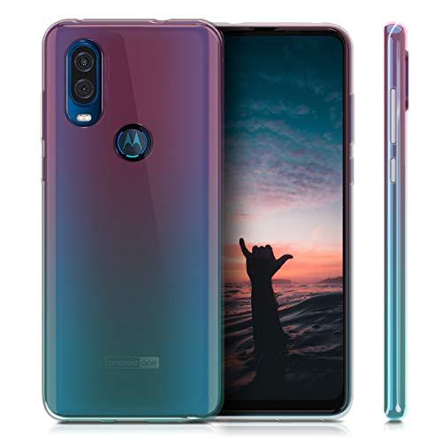 kwmobile Funda Compatible con Motorola One Vision - Carcasa de TPU y Bicolor en Rosa Fucsia/Azul/Transparente