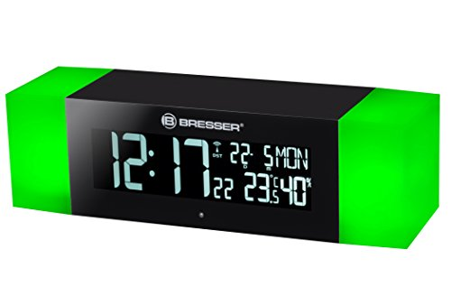 Bresser 8010080CM3000 Radio FM con Despertador LUZ Y FUNCIÓN BLU, Negro, 23 x 6 x 6.2 cm
