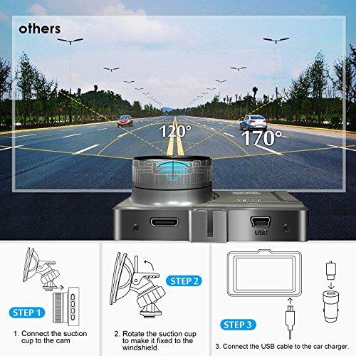 Cámara de Coche Full HD 1080P Dash CAM DVR 170° Gran Angular 3'' LCD WDR Visión Nocturna Detección de Movimiento Aparcamiento Monitor Grabación de Bucle G-Sensor