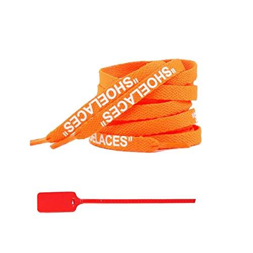 """El cordón 47""""/55"""" /63"""" Cordones de impresión con Cremallera Atar los Cordones Blancos de Las Zapatillas de Deporte, Naranja, Blanco, 160cm Imprimir"""