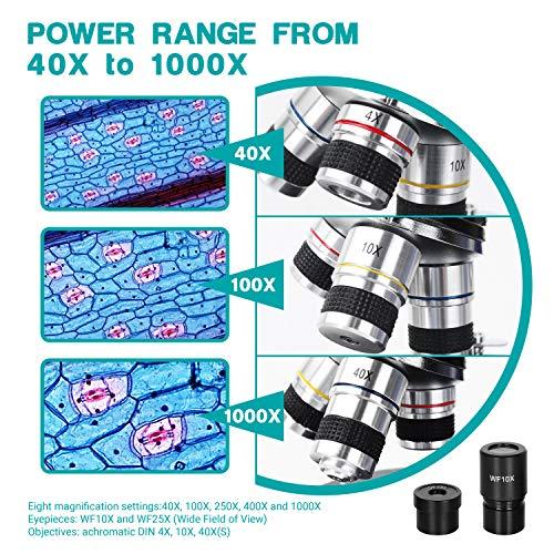 ESSLNB Microscopio Profesional 40X-1000X Microscopio Optico con Perilla de Enfoque Coaxial Grueso/Fino Metal Ocular (WF10X/25X) Muestras Lámpara LED