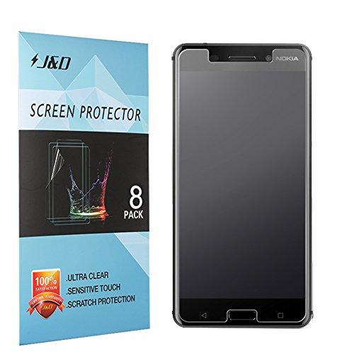 J&D Compatible para 8 Paquetes Protector de Pantalla para Nokia 6, [Anti reflejante] [Anti-Huella Dactilar] [NO Cobertura Completa] Prima Película Mate Protector de Pantalla para Nokia 6