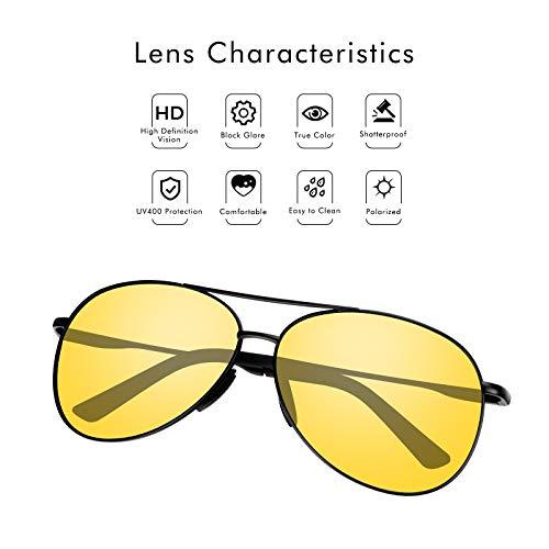 VVA Gafas de sol Hombre Polarizadas Aviador Hombres Aviador Gafas de sol Polarizadas Hombre Unisex Protección UV400 por V101 (Vision Nocturna)