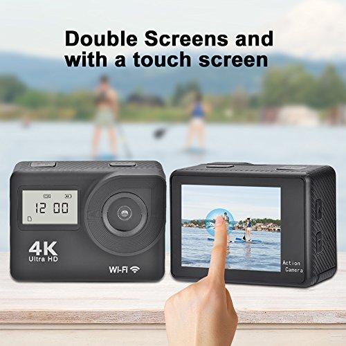Cámara de acción dual con pantalla táctil, cámara de acción de ángulo amplio de 130 ° Control remoto WiFi 4K Ultra HD 12MP, juego de cámara deportiva antivibración con visión nocturna incl.Accesorios