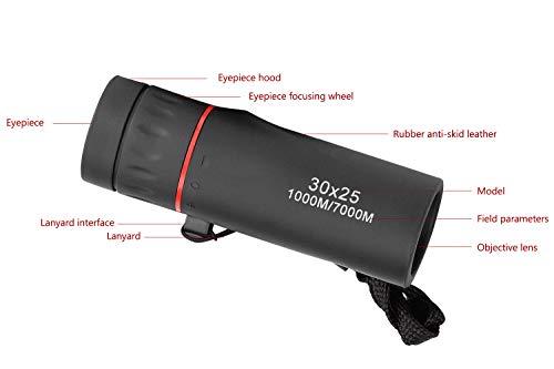 Demason Prismáticos telescópicos, resistentes al agua, monocular HD, telescopios ópticos 5X teléfono móvil, visión nocturna para observación de aves, viajes, conciertos, deportes opernales (30 x 25CM)