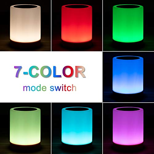 Luz Nocturna de LED, omitium Lámpara de Mesita de Noche Inteligente Recargable por USB Diseño de Control Táctil Portátil para la Cuarto de Los Niños Dormitorio Acampar - Blanco Cálido