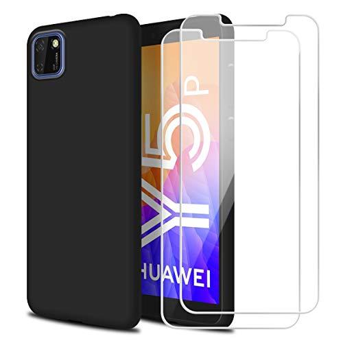 Reshias Funda para Huawei Y5P con Dos Cristal Templado Protector de Pantalla,Negro Suave Líquido Silicona Protectora Carcasa para Huawei Y5P (5.45 Pulgadas)