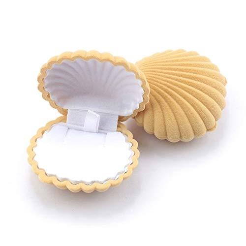 1 Pieza hermosa concha en forma de terciopelo joyería boda de la caja del anillo de compromiso de la caja de la pulsera del collar de exhibición de la caja de regalo del sostenedor diademas para mujer