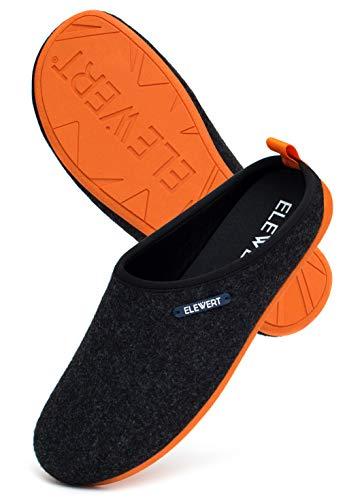 ELEWERT® - NATURAL-W1-BLACK-ORANGE-II - Zapatillas para casa, Confort, Unisex, Interior, Exterior, Suela de Caucho, Plantilla extraíble reciclada, Designed IN Europe, Made IN Spain. Talla 43
