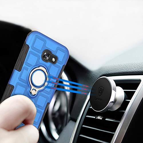 Labanema Galaxy A5 2017 Funda, 360 Rotating Ring Grip Stand Holder Capa TPU + PC Shockproof Anti-rasguños teléfono Caso protección Cáscara Cover para Samsung Galaxy A5 2017 - Azul