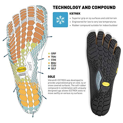 Vibram Fivefingers Trek Calcetines de Dedos Ascent Insulated Men +–Set–Trekking Dedos de Zapatos/Bar Soporte de Invierno con Gratis Calcetines de Cinco Dedos, Khaki/Orange, 46 EU