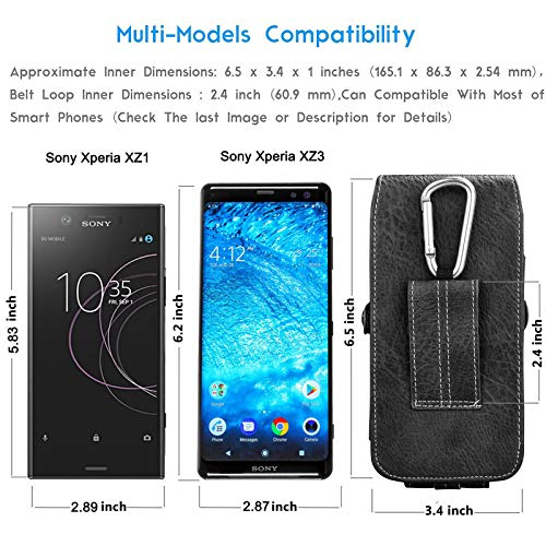 "Eutekcoo 6.5"" teléfono Funda Universal para iPhone 11 Pro MAX XR x 8 7 6 / Sony Xperia 5 1 xz Prima f8331 l3 / Nokia 1 / Google Pixel 3 3a XL/Moto e6 g7 g6 Negro"